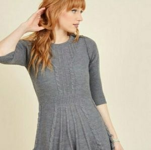 MODCLOTH Warm Cider Dress in Ash Grey Small